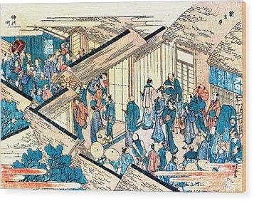 Great Gate New Yoshiwara 1811 Wood Print by Padre Art