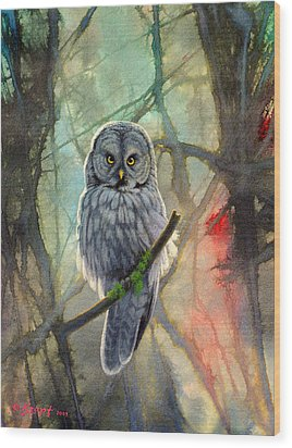 Great Grey Owl In Abstract Wood Print by Paul Krapf