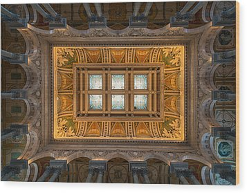 Great Hall Ceiling Library Of Congress Wood Print by Steve Gadomski
