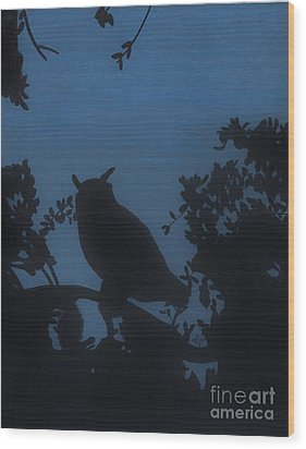 Wood Print featuring the drawing Owl At Night by D Hackett