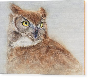 Wood Print featuring the painting Great Horned Owl by Bonnie Rinier
