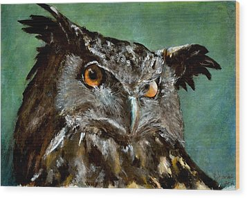 Great Horned Owl Wood Print by Carlo Ghirardelli