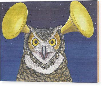 Great Horned Owl Wood Print by Catherine G McElroy