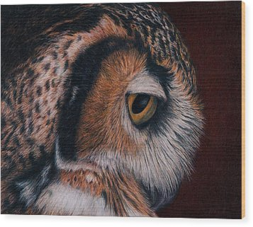 Wood Print featuring the painting Great Horned Owl Portrait by Pat Erickson