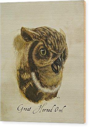 Great Horned Owl Wood Print by Rachel Root