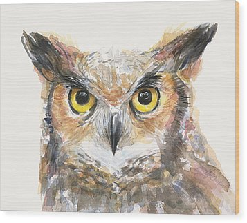 Great Horned Owl Watercolor Wood Print