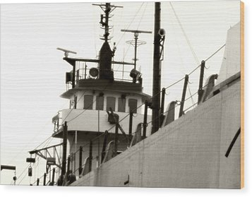 Great Lakes Freighter Wood Print by Michael Allen
