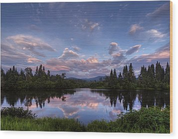 Great North Woods Sunset In New Hampshire Wood Print