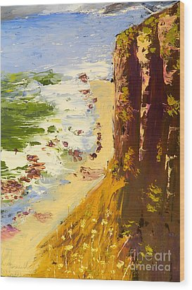 Wood Print featuring the painting Great Ocean Road by Pamela  Meredith