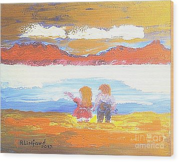 Great Salt Lake Utah And Children Wood Print by Richard W Linford