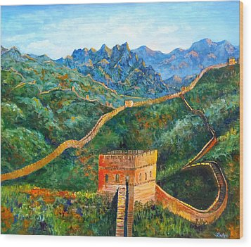 Great Wall Wood Print by Lou Ann Bagnall