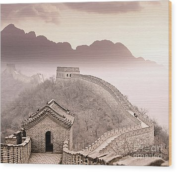 Great Wall Of China Wood Print by Delphimages Photo Creations