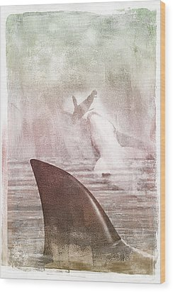 Wood Print featuring the digital art Great White Attack by Davina Washington