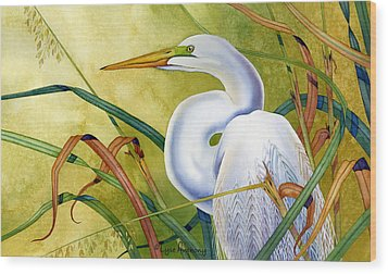 Great White Heron Wood Print by Lyse Anthony