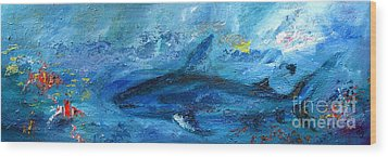 Great White Shark Coral Reef Ocean Life Wood Print by Ginette Callaway