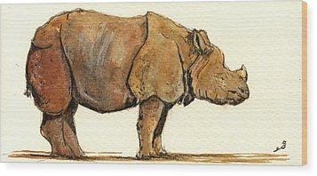 Greated One Horned Rhinoceros Wood Print by Juan  Bosco