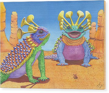 Greater And Lesser Horned Lizards Wood Print by Catherine G McElroy