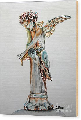 Wood Print featuring the painting Greek Angel by Maria Barry