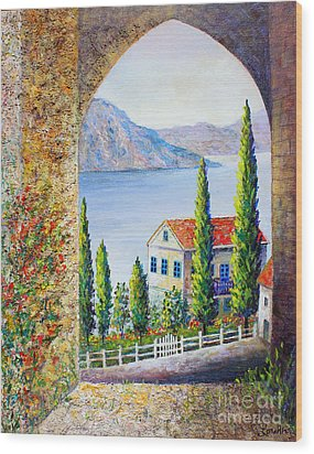 Wood Print featuring the painting Greek Arch Vista by Lou Ann Bagnall