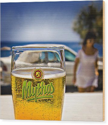 Greek Beer Goggles Wood Print by Meirion Matthias