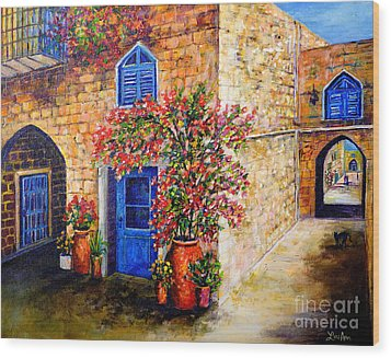 Wood Print featuring the painting Greek Bouganvillia by Lou Ann Bagnall