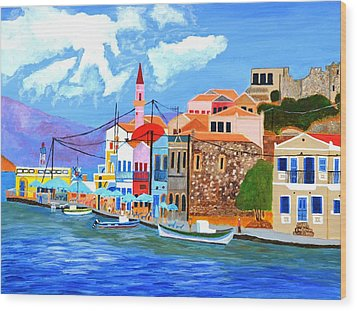 Greek Coast Wood Print by Magdalena Frohnsdorff