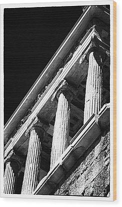 Greek Columns Wood Print by John Rizzuto