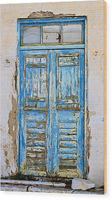 Wood Print featuring the photograph Greek Door by John Babis