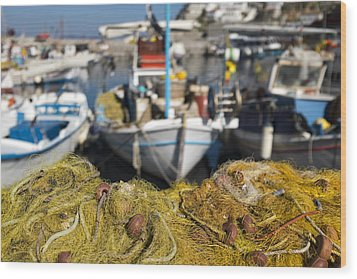 Greek Fishing Harbour Wood Print