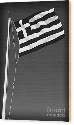Greek Flag Wood Print by John Rizzuto