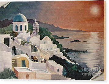 Greek Isles Wood Print by Marilyn Smith