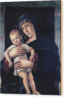 Wood Print featuring the painting Greek Madonna With Child 1464 Giovanni Bellini by Karon Melillo DeVega