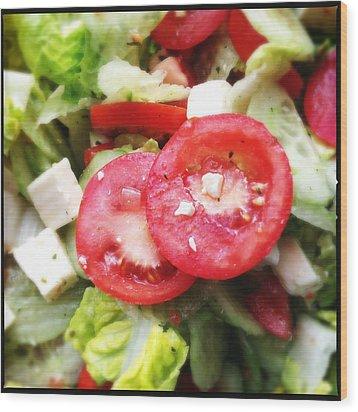 Greek Salad With Tasty Tomatoes Wood Print