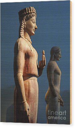 Greek Sculpture Athens 1 Wood Print by Bob Christopher