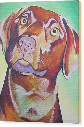Wood Print featuring the painting Green And Brown Dog by Joshua Morton