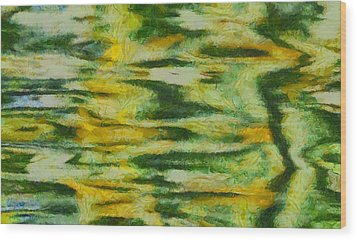 Green And Yellow Abstract Wood Print by Dan Sproul