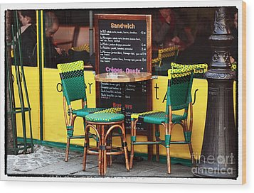 Green And Yellow In Paris Wood Print by John Rizzuto