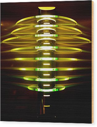 Green And Yellow Light Reflectors Wood Print by Kirsten Giving
