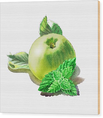 Wood Print featuring the painting Green Apple And Mint Happy Union by Irina Sztukowski