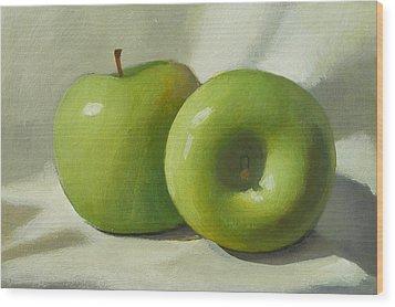 Green Apples Wood Print by Peter Orrock