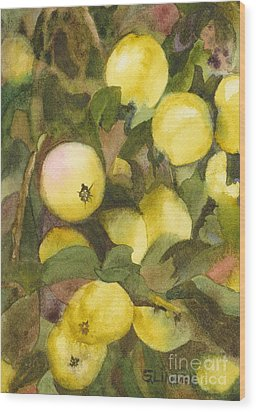 Green Apples Wood Print by Sandy Linden