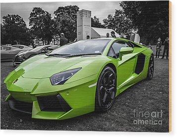 Wood Print featuring the photograph Green Aventador by Matt Malloy