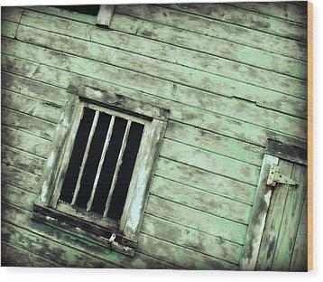 Green Barn Up Close Wood Print by Julie Hamilton