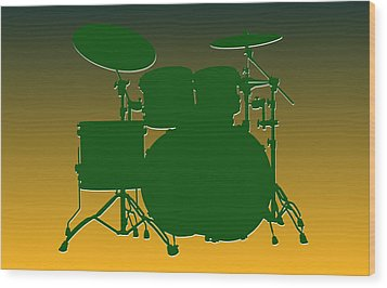 Green Bay Packers Drum Set Wood Print by Joe Hamilton