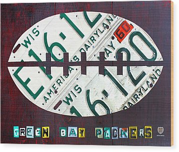 Green Bay Packers Football License Plate Art Wood Print by Design Turnpike