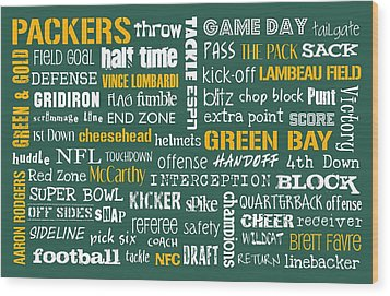 Green Bay Packers Wood Print by Jaime Friedman