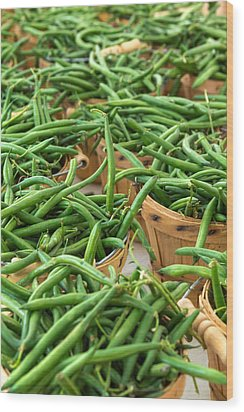 Green Beans In Baskets At Farmers Market Wood Print by Teri Virbickis