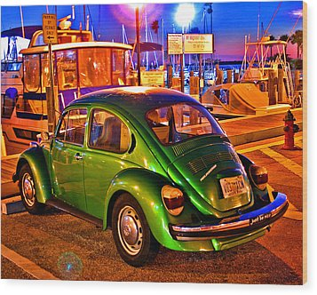Wood Print featuring the photograph Green Beetle by Christopher McKenzie