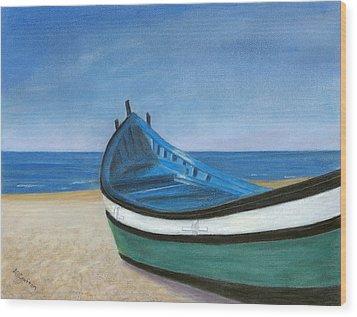 Green Boat Blue Skies Wood Print