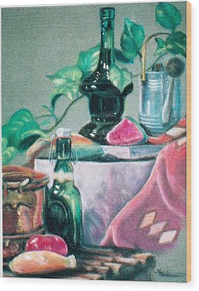 Green Bottles And Copper Wood Print by Harriett Masterson